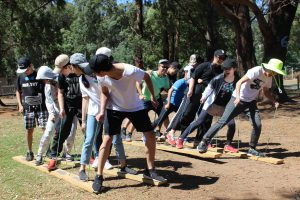 Students on camp take part in outdoor activities